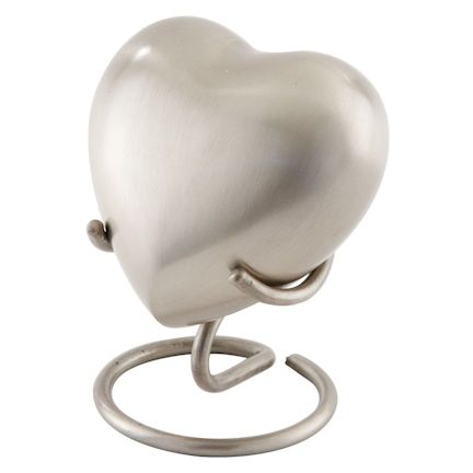 Abel Funeral Urn Brushed Pewter Heart